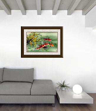 Koi Fish & Plum Blossom Painting living room view