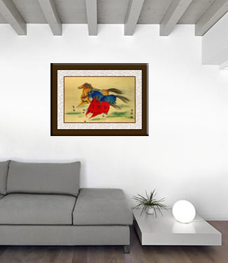 Abstract Galloping Horses - Chinese Watercolor Painting living room view