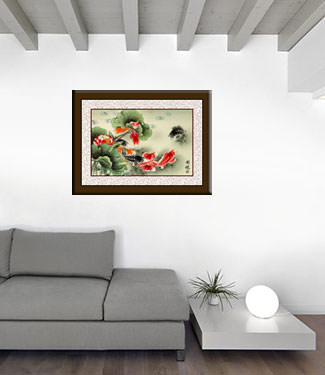 Large Koi Fish Painting living room view