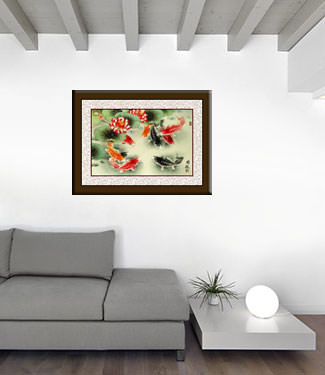 Koi Fish Painting living room view