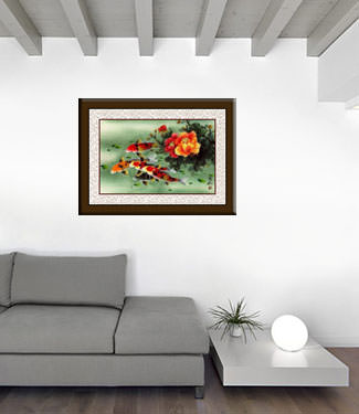 Koi Fish & Peony Flowers Painting living room view