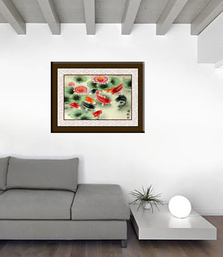 Koi Fish and Lotus Flower - Colorful Asian Art Painting living room view