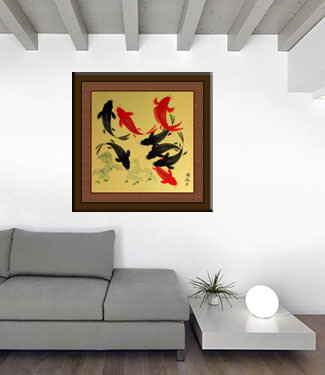 Large Koi Fish Painting on Antiqued Paper living room view