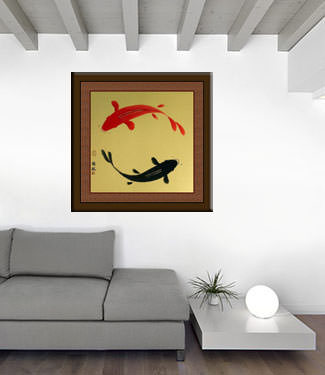 Yin Yang Koi Fish Painting living room view
