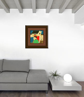 Asian Woman Hanging Laundry - Modern Art Painting living room view