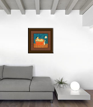 Chinese Lady in the Bath with Cat and Dog - Asian Modern Art Painting living room view