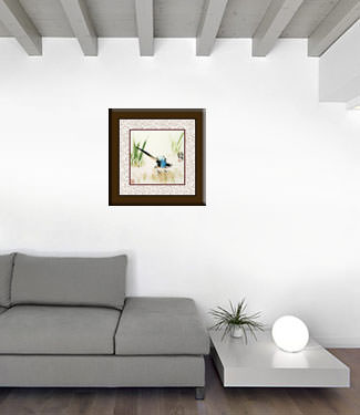 Abstract Bird in Grass Painting living room view