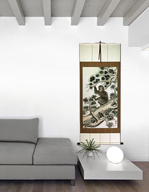 Monkey in Pine Tree - Asian Wall Scroll living room view