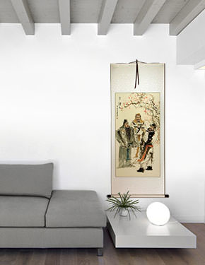 Three Warrior Brothers of China Wall Scroll living room view