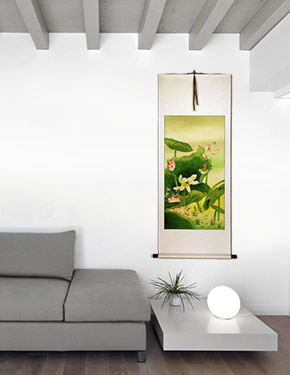 Chinese Birds and Lotus Wall Scroll living room view