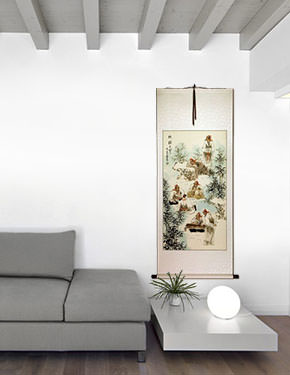 Bamboo Grove - Wall Scroll living room view