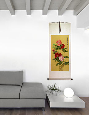 Heavenly Fragrance and Beauty - Peony Flower Wall Scroll living room view