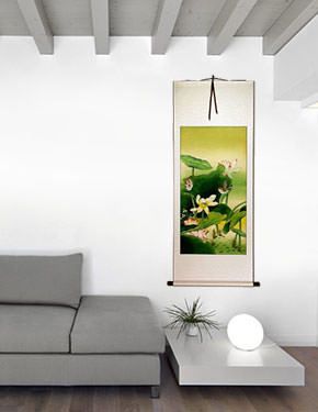 Gongbi Birds and Lotus Chinese Scroll living room view