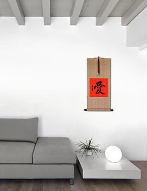 LOVE - Chinese / Japanese Calligraphy Red/Copper Wall Scroll living room view
