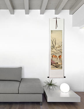 Horses Wall Scroll living room view