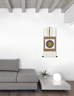 Colorful Om Symbol - Hindu / Buddhist Wall Scroll living room view