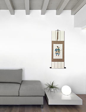 Japanese Archer Samurai Wall Scroll living room view