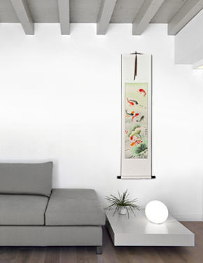 Koi Fish & Lotus Flower - Chinese Scroll living room view