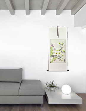 Bird & Flower Wall Scroll living room view