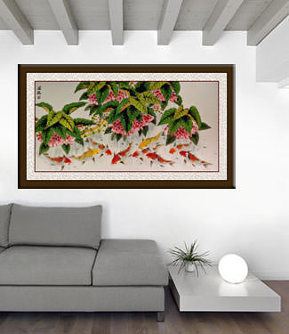 Koi Fish Feeding - Large Chinese Painting living room view