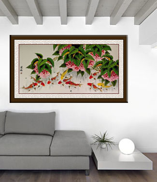 Enormous Koi Fish and Lychee Painting living room view