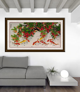 Huge Koi Fish and Lychee Fruit Chinese Painting living room view