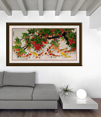 Large Koi Fish and Lychee Fruit Painting living room view