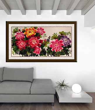 Large Chinese Peony Flowers Painting living room view