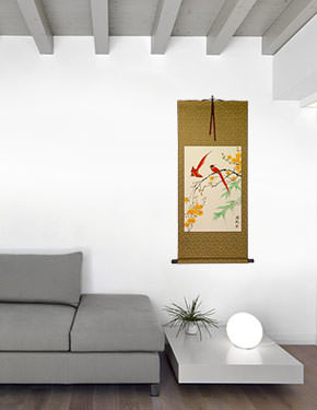 Red Cardinals and Yellow Plum Blossom Wall Scroll living room view