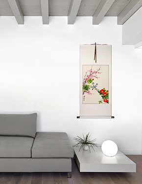Birds Plum Blossom and Flower Wall Scroll living room view