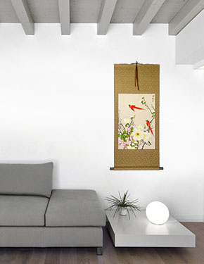 Red Cardinals and Bright Flowers Wall Scroll living room view
