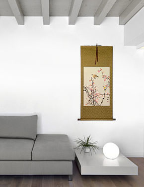 Birds and Bright Pink Plum Blossom Wall Scroll living room view