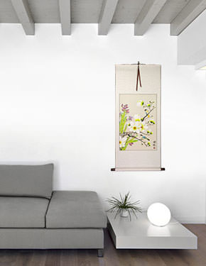 Bird & Flower Painting on Wall Scroll living room view