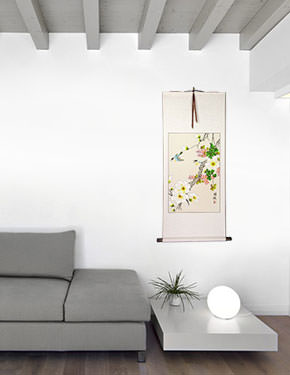 Two Birds and Flower Wall Scroll living room view