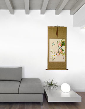 Birds & Flowers Wall Scroll living room view