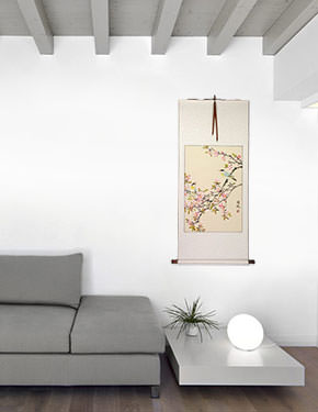 Birds and Bright Pink Blossom Wall Scroll living room view