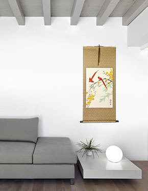 Bird and Flower Chinese Wall Scroll living room view