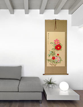 Large Red and Pink Peony Flower Wall Scroll living room view