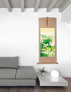 Large Bird and Flower Wall Scroll living room view