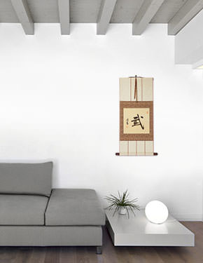 Warrior Spirit - Martial Arts - Chinese / Japanese Kanji Character Wall Scroll living room view