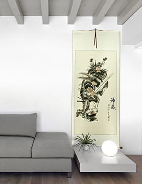Zhong Kui - Ghost Warrior Wall Scroll living room view
