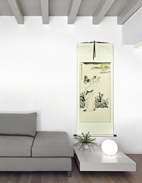 Li Bai - Chinese Philosopher Poet - Wall Scroll living room view