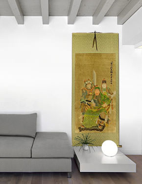 Three Brothers - Partial-Print Hanging Scroll living room view