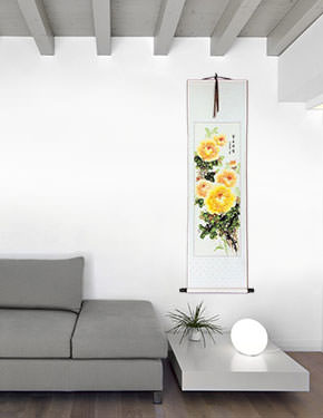 Yellow / Orange Peony Flowers Wall Scrolls living room view