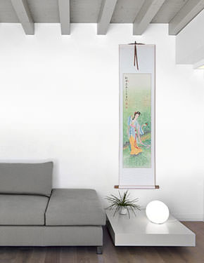Beauty Asian Woman Wall Scroll living room view