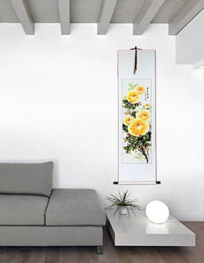 Yellow Peony Flower Wall Scroll living room view