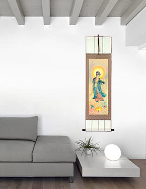 Guanyin Buddha Lotus Embrace - Giclee Print - Wall Scroll living room view