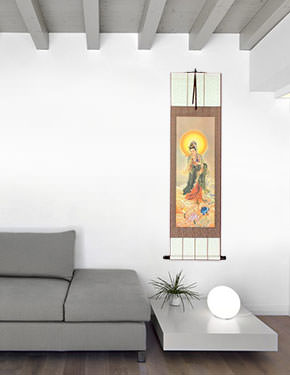 Guanyin Buddha Holds the Jing Ping - Giclee Print - Wall Scroll living room view
