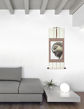 Face of Buddha Statue Wall Scroll living room view