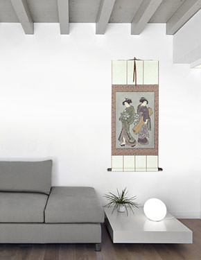 Geisha & Servant Carrying Shamisen - Japanese Print Repro - Large Wall Scroll living room view